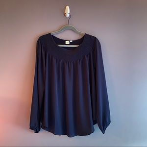 Gap Smocked Neckline Long Sleeve Blouse Top